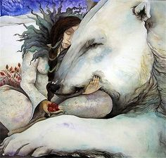 Polar Bear Illustration by Jackie Morris Art And Illustration, Watercolor Illustration, Fantasy Kunst, Fantasy Art, Art D'ours, Image Halloween, East Of The Sun, Photo D Art, Bear Art