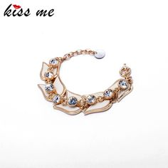 Flashing Crystal Chain Fan-Shaped Charm Bracelets for Women Arm Cuff Accessories Factory Wholesale