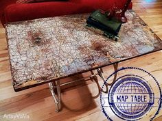 Map Table, used an old sewing machine base!  Artsy Vava