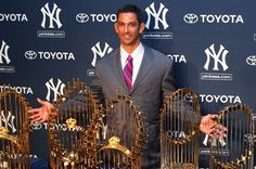 Yankees catcher Jorge Posada poses with the five World Championship trophies won during his Yankees tenure. Posada announced his retirement after 17 years during a press conference at Yankee Stadium on Tuesday. (Debby Wong-US PRESSWIRE)  SI VAULT: How Jorge Posada went from slow infielder to top-tier catcher (5.7.01)