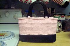 ~ Dly's Hooks and Yarns ~: Pink & black oblong purse
