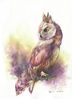 The Eagle Owl - ORIGINAL watercolor painting 11x15 inches  Signed and year - by me, the artist  Watercolors are professional high quality from