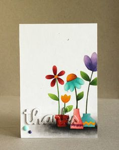 Thanks card by Alice Wertz for Paper Smooches -  Twiggy Florets, Thanks Word 2