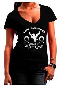 TooLoud Camp Half Blood Cabin 8 Artemis Juniors Petite V-Neck Dark T-Shirt
