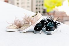Jeweled accents and fun, flirty feathers make these shoes a hit