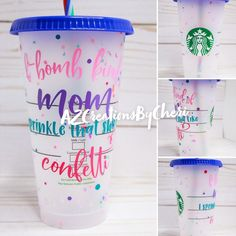 Personalized Starbucks Cup, Custom Starbucks Cup, Starbucks Drinks, Personalized Cups, Mom Milk, Custom Cups, Gifts For My Wife, Custom Tumblers, Confetti