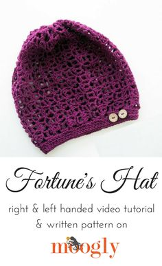 Fortune's Hat: Tutorial on Moogly! Love Crochet, Easy Crochet, Knit Crochet, Crochet Hats, Crochet Designs, Crochet Patterns, Hat Patterns, Crochet Projects, Crochet Tutorials