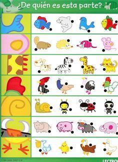 Hvilken del hører til hvilket dyr? Montessori Activities, Preschool Worksheets, Learning Activities, Preschool Activities, Teaching Kids, Kids Learning, Pre Kindergarten, My Little Baby, Learning Through Play