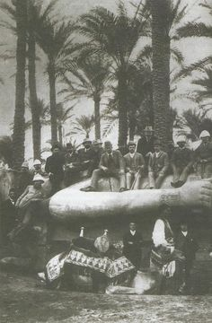 Russian royalty during their travels in Egypt, seated in the front row are Prince George of Greece and Denmark, Nicholas II, Grand Duke George Alexandrovich, and Prince Esper Ukhtomsky, 1890.