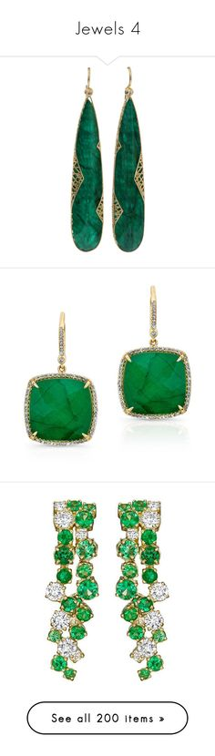 """""""Jewels 4"""" by myfanficmanips ❤ liked on Polyvore featuring jewelry, earrings, brincos, yossi harari jewelry, earring jewelry, yossi harari, emerald jewellery, emerald earrings, joia and gold"""