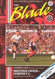 Sheffield United v Everton official programme 30/10/1990 Rumbelows League Cup