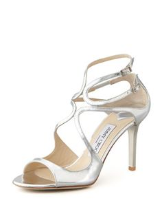 Ivette Strappy Metallic Sandal, Silver by Jimmy Choo at Neiman Marcus.