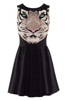 ROMWE | Tiger-head Print Pleated Black Dress, The Latest Street Fashion