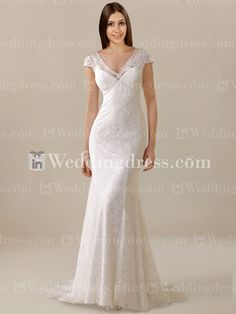 Buy online for the short sleeve lace wedding dress collection; find the right gown for your body and budget.
