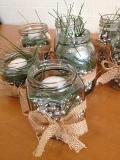rustic christmas table decorations pine beads and tea candles - Rustic Christmas Table Decorations