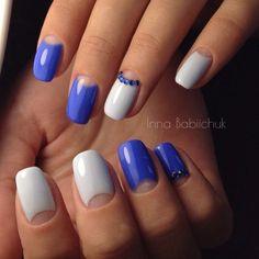 Cool nails, Everyday nails, Half moon nails 2016, Half moonnails with rhinestones, Half-moon nails ideas, January nails, Nails trends 2016, Shellac half moon nails