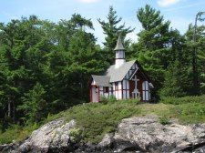 The Paulist chapel on Hecker Island on Lake George in Upstate New York.
