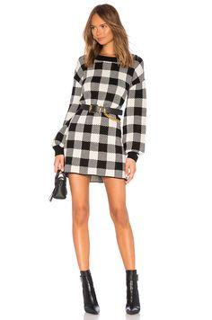 a010dfaab40 LPA Floyd Sweater Dress in Black  amp  Ivory Check Autumn Winter Fashion
