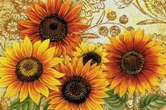 Medium Sunflower Drawing, Sunflower Art, Sunflower Wreaths, Sunflowers And Daisies, Sunflower Pictures, Tole Painting, Vincent Van Gogh, Fall Crafts, Flower Prints