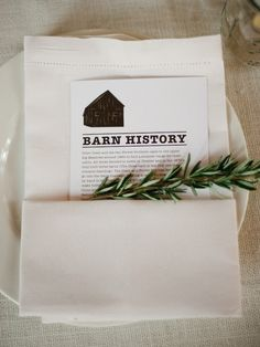 Including your venue's history on paper in the place setting. love.
