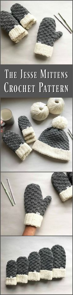 The Jesse Mittens, Crochet Mittens, Easy Pattern, Mitten Pattern, Crochet Mittens, Pattern, Crochet #download ochet #ad #crochetpattern #download