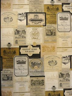 Wine Labels wallpaper Lancashire Wallpaper and Paint. Might be fun for an accent wall.