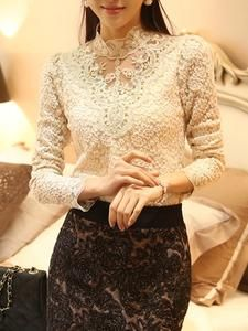 Band Collar Beading Lace Hollow Out Long Sleeve T-Shirt                      – Stylishplus