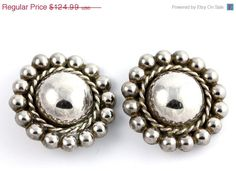 On Sale Today Vintage Mexican Taxco 925 Sterling Silver Satellite Orb Clip On Earrings