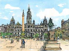 Glasgow Scotland art print from an original by AndreVoyy on Etsy