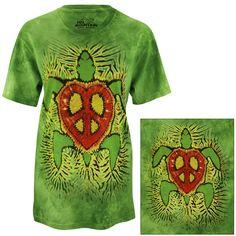 Rasta Peace & Love Turtle T-Shirt at The Rainforest Site