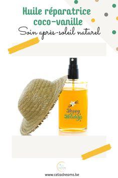 Pour éviter les coups de #soleil, il convient de bien protéger sa peau. Avant l'exposition bien sûr mais aussi après. Rien de tel en effet qu'un soin après-soleil « maison » 100% naturel pour l'apaiser et la réhydrater (nourrir) en profondeur.. Avec cette recette d'huile réparatrice coco-vanille qui sent bon l'été, votre peau retrouvera éclat et souplesse sans les méfaits des crèmes chimiques. Facile à réaliser. #soin #diy #cosmetique #naturel #beauté #hydratation #peau Sent Bon, Coups, Bio, Holiday, Back Walkover, Vacations, Holidays, Vacation, Annual Leave