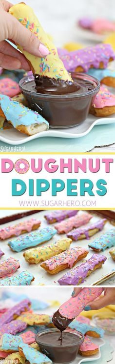 Doughnut Dippers - super easy homemade doughnuts, dipped in a warm mocha sauce, for the ultimate comfort dessert! Party Desserts, Just Desserts, Delicious Desserts, Dessert Recipes, Yummy Food, Dessert Dips, Dessert Table, Drink Recipes, Donut Maker Recipes