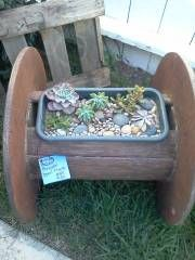 wooden spool planter