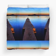 'Lonely at Sounion' Duvet Cover by Hercules Milas Still Of The Night, Duvet Cover Design, Blue Hour, Hercules, King Size, Lonely, Duvet Covers, Travel Destinations, Greece