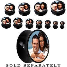 Black Acrylic Custom Photo Saddle Plug #bodycandy #plugs #personalize $14.99