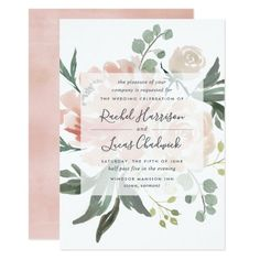 Midsummer Floral Wedding Invitation Blue Wedding Invitations, Engagement Party Invitations, Bridal Shower Invitations, Wedding Stationery, Engagement Parties, Engagement Ideas, Engagement Gifts, Pastel Floral, Floral Flowers