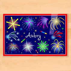 Fourth of July Fireworks Personalized Placemat by Olive Kids | artappeel