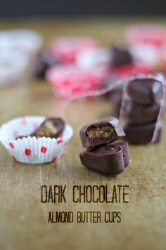 Dark Chocolate Almond Butter Cups www.tasteofdivine.com