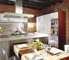 Una cocina de estética industrial
