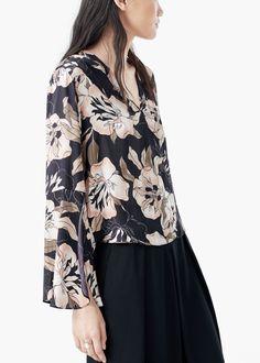 Fließende, bedruckte bluse | MANGO