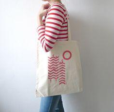 Organic Cotton Canvas Bag/ A Chevron Daze/ Pretty In Pink