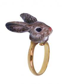 Adjustable ring brown rabbit