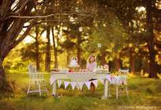 vintage outside girls tea party..
