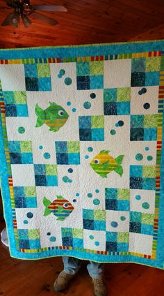 This excellent king size quilts is an extremely inspirational and perfect idea Cot Quilt, Lap Quilts, Panel Quilts, Small Quilts, Baby Quilt Panels, Baby Quilts Easy, Baby Boy Quilts, Girls Quilts, Fish Quilt Pattern