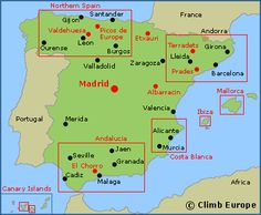 Map of the Spanish rock climbing, sports climbing and bouldering areas