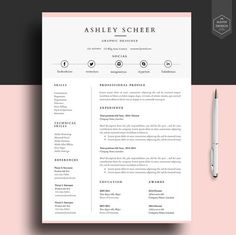 Professional Resume Template, Resume Template For Word, Cv Template With  FREE Cover Letter, Cv Design, Lebenslauf,   Resume Template For Free