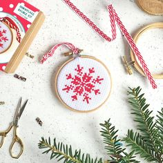 Snowflake Cross Stitch Bauble Kit. Get your festive stitch on with this scandi inspired Snowflake mini cross stitch kit, perfect for beginners or those who just love to get creative!