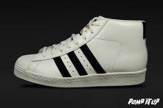 Adidas Pro Model Vintage DLX (OWHITE/CBLACK/OWHITE) For Men Sizes: 40 to 46 EUR Price: CHF 200.- #Adidas #ProModel #VintageDLX #AdidasProModel #AdidasVintage #Sneakers #SneakersAddict #PompItUp #PompItUpShop #PompItUpCommunity #Switzerland Chf, Switzerland, Adidas Sneakers, Model, Clothes, Vintage, Shoes, Fashion, Outfits