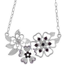 Dream Out Loud by Selena Gomez  Necklace Flower Cluster Stones Silver