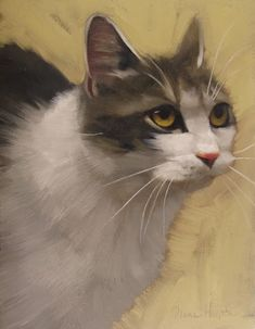 "1/20/14  One of my favorites I think, painted yesterday  ""Derby Cat""  Oil on wood, 8"" x 6,"" sold  by Diane Hoeptner"
